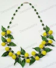LEMONS fruit&leaves GREEN murano GLASS BEAD NECKLACE vintage beads LEMON&LEAF