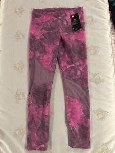 Under-Armour-Women-s-Sz-M-HeatGear-Print-Pink-Midrise-Ankle-Leggings