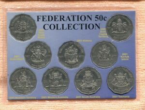 2001-Centenary-Of-Federation-States-50-Cent-coin-Set-Of-9-Carded-J-734