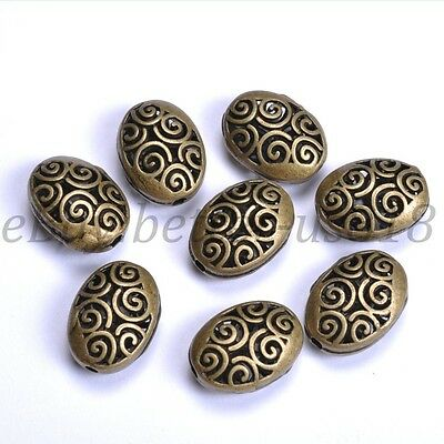 Tibetan Silver Ellipse Shaped Hollow Spacer Beads For Jewellry 18X14MM B24