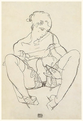 Egon Schiele Drawing Reproductions: Seated Woman in