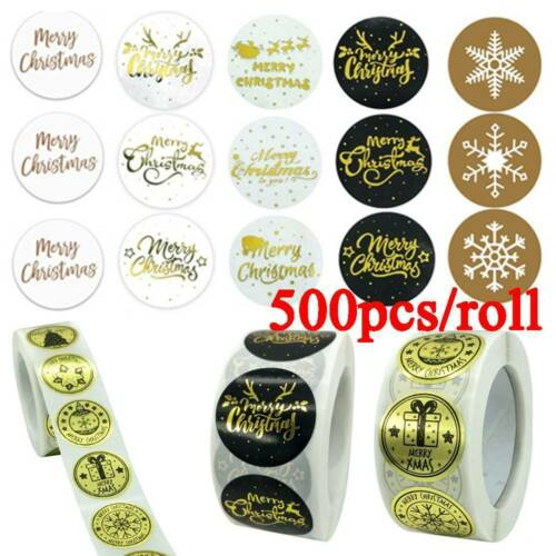 500pcs Gold Foil Merry Christmas Stickers Seal Labels Xmas Card Gift Box Decor.s