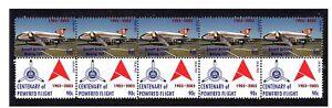ANSETT-AIRLINES-CENTENARY-FLIGHT-STRIP-OF-10-MINT-VIGNETTE-STAMPS-BOEING-727