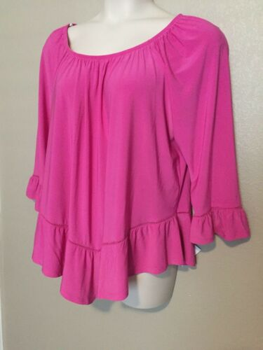 NY Collection Women/'s Convertible Pink Off The Shoulder Cut Out Top Plus Sizes