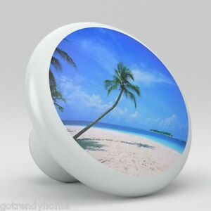 Image Is Loading Beach Ocean Palm Tree Ceramic S Pulls Kitchen