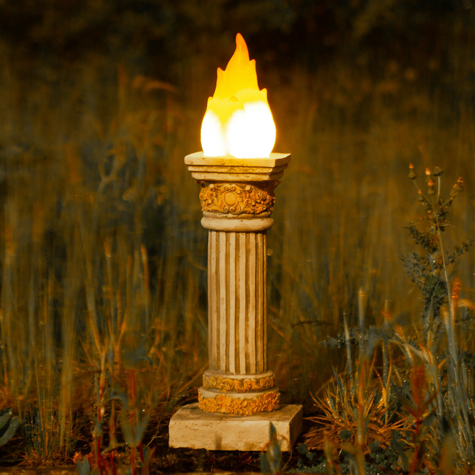 Neuf 2x Énergie Solaire Scintillement Torche Flamme Romain Pilier LED Jardin