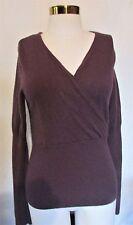 Willi Smith Purple Crossed V Long Sleeve 100% Cashmere Sweater Womens Medium