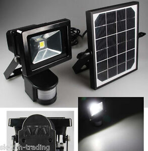 solar lampe led avec d tecteur de mouvement et piles projecteurs ext rieurs 10w ebay. Black Bedroom Furniture Sets. Home Design Ideas