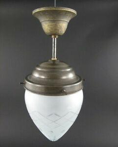 Deckenlampe Jugendstil Hängelampe Antik Pendelleuchte Art Lampe Glas Messing NEU