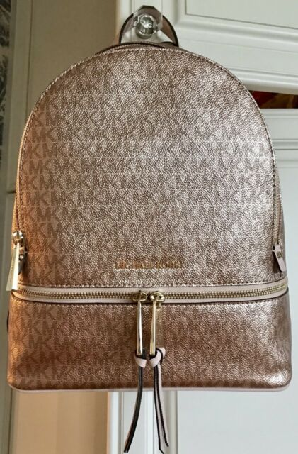689870960688b5 MICHAEL KORS Rhea Zip Medium Backpack Soft Pink Rose Gold Metallic MK  Signature