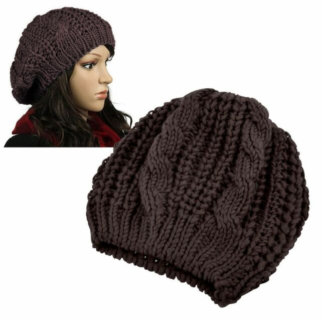 Buy Unisex Womens Mens Winter Warm Knit Beret Hat Beanie Crochet Ski ... 814e173e7cc