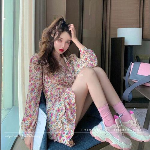 Spring Korean Women Floral Ruffle Chiffon Beach Casual Boho Mini Party Dress