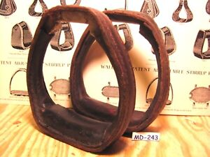 Unusual-Rare-Antique-Leather-Covered-Metal-Saddle-Stirrups-in-Great-Condition
