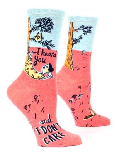 """Details about  /Blue Q Women/'s Crew Socks /""""  I Heard You Don/'t Care /"""" Novelty Gift 4-9"""