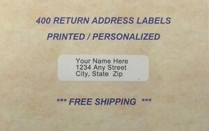 400 - Printed / Personalized Return Address Labels - 1/2 x 1 3/4