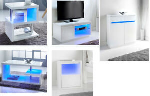 Details About Alaska High Gloss Side Table Media Unit Coffee Table Bedside Cabinet Led Lights
