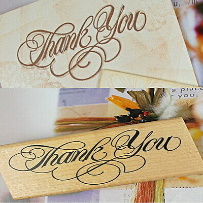 Nice Wooden Rectangle Stamp Rubber Craft Favour Scrapbooking Thank You Love CN