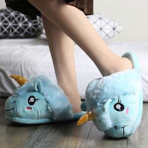 grande sconto per online qui prese di fabbrica Dettagli su Pantofole Donna Unicorno Peluche Ciabatte Casa