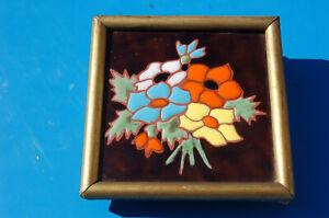 Antiguo-Azulejo-Loza-Decoracion-Flor-Azul-Verde-Amarillo-Naranja-Blanco-Marco