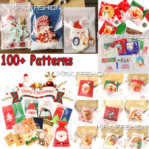 100x Christmas Cellophane Bag Party Favour Cookie Sweet ...
