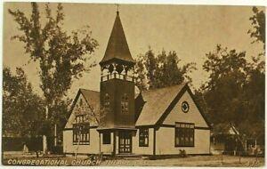 Congregational Church Building Tulare California CA Sepia 1900's 1910's Postcard
