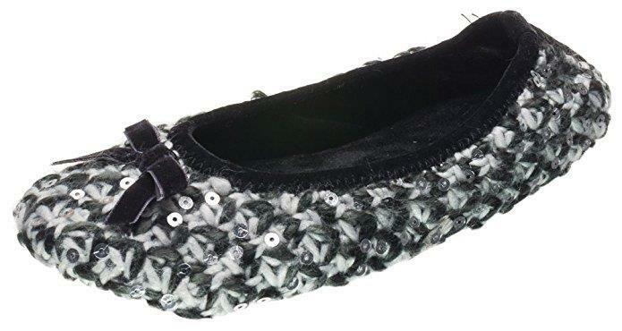 ISOTONER Women's Janel Knit Sequine Ballerina with Sturdy Sole Black Gray