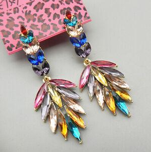 Betsey-Johnson-Colorful-Crystal-Leaf-Dangle-Stud-Earrings