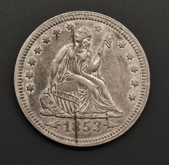1853  Seated Liberty Quarter 25c