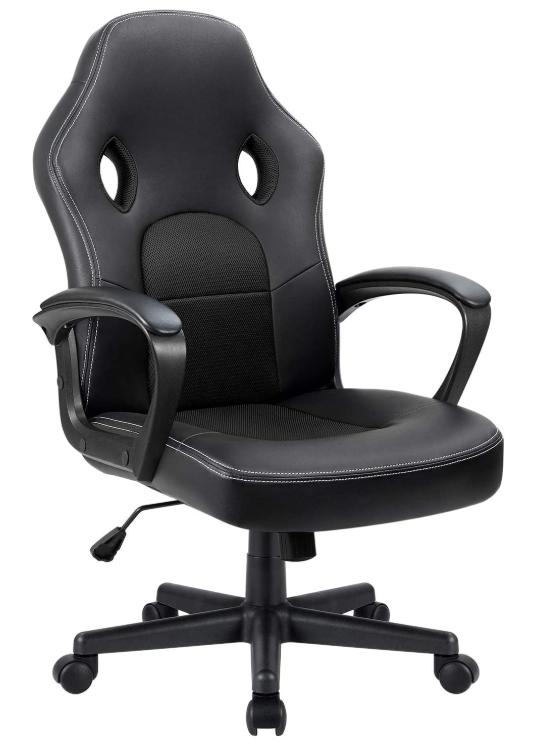 Furmax Office Desk Leather Gaming Chair, High Back Ergonomic Adjustable (Black)