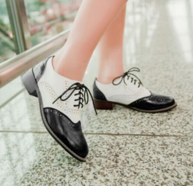 Retro Wingtip Oxford Lace Up Leisure Womens Low Heel Flats Brogues Fashion Shoes