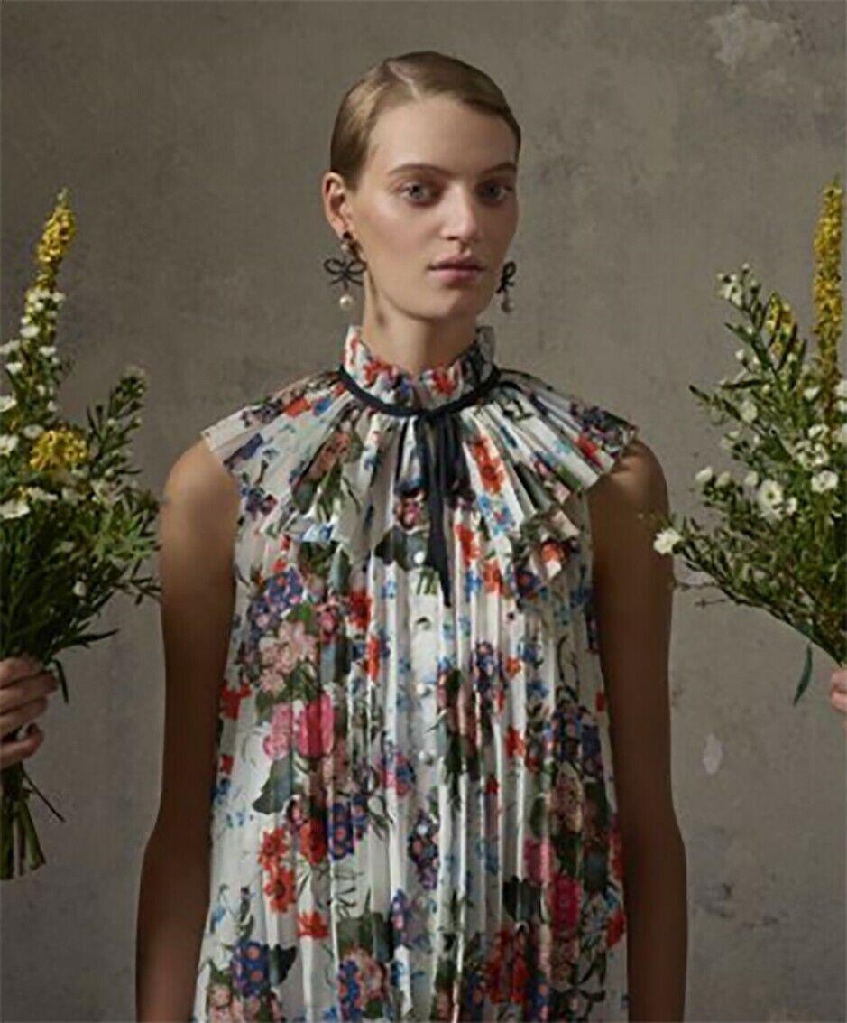 ERDEM x H&M Pleated Floral Print Sleeveless Blouse Top Größe 8 MEDIUM