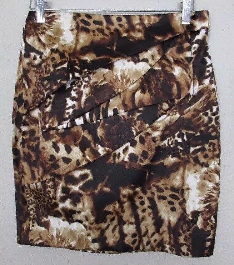 CACHE Pencil SKIRT Size  0 New BROWN Animal Floral Print Straight Career