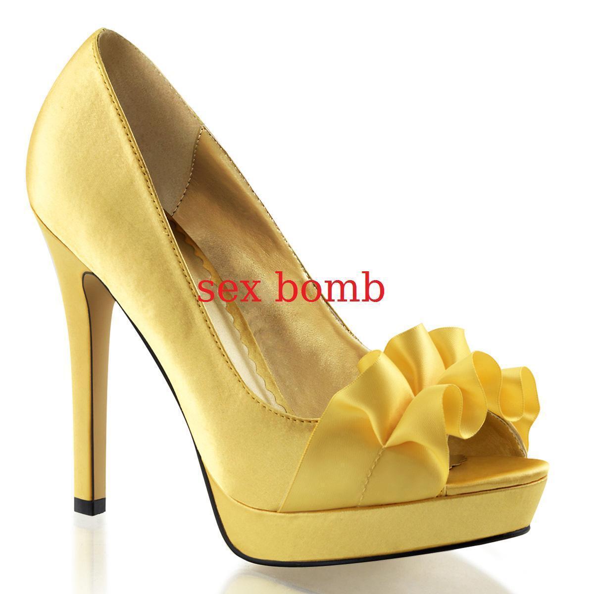 Descuento barato sexy DECOLTE' tacco 12 dal 35 al 41 GIALLO PLATEAU scarpe spuntate GLAMOUR