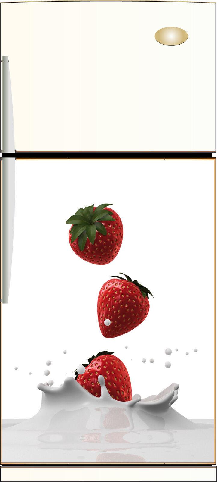 Aufkleber Kühlschrank Repositionierbar Dekor Küche Fraises 60x90cm Ref 220