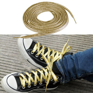 Chic-Metallic-Glitter-Gold-Flat-Shoe-Lace-String-for-Boot-Trainer-160cm