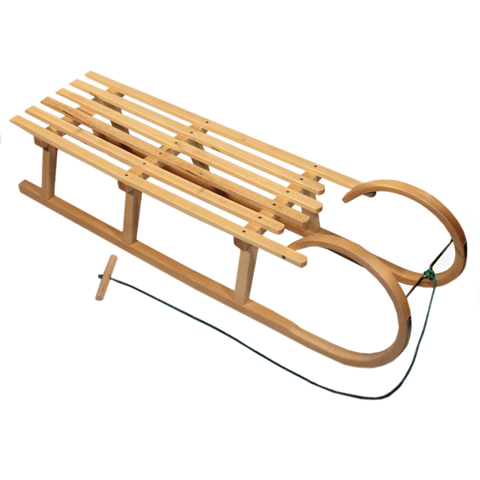 Bambiniwelt Trineo de Madera Hörnerrodel Niños Tirador Cuerda 100cm