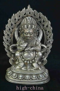 Collectable-Handwork-Old-Miao-Silver-Carve-Buddha-Exorcise-Auspicious-Statues