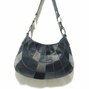 1ca058a932 Lucky Brand Black Gray Leather Suede Patchwork Hobo Satchel Shoulder ...
