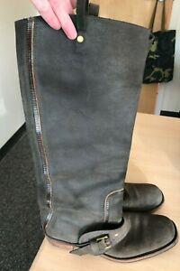 Women-039-s-BOTTEGA-VENETA-Brown-Leather-W-Buckles-Riding-Boots-40-US-9-5