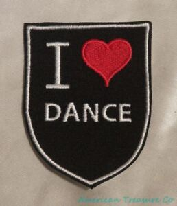 Embroidered-Retro-Vintage-Style-I-Love-Dance-Ballet-Dancer-Black-Patch-Iron-On