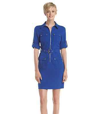 NWT Michael Kors Belted Roll Sleeve Shirt Dress SMALL Royal Blue $120 NEW