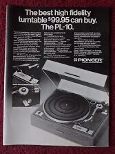 1974 Print Ad Pioneer PL-10 High Fidelity Record Player Turntable ~ Best Buy