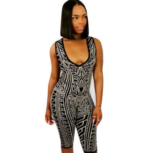 Fashion Women V Neck Sleeveless Print Fifth Pants Bodycon Jumpsuit Clubwear