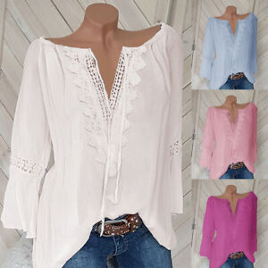 Plus-Size-Women-Boho-Long-Sleeve-Blouse-Loose-Top-Lace-V-Neck-Beach-T-Shirt-NEW