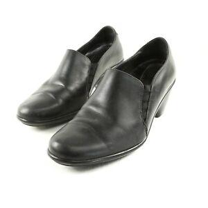 Dansko-Black-Leather-Clogs-High-Heel-Shoes-Womens-EUR-40-US-9-5-to-10