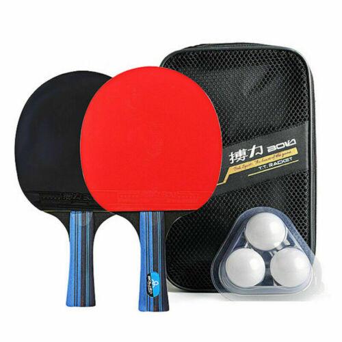Pair OF Professional Table Tennis Racket Paddle Bat 3 Balls Bag Sets UK Fast