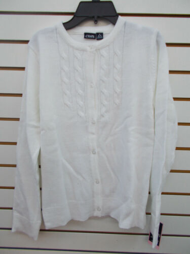 7 Girls Chaps $32 White or Navy Button Close Uniform Sweater Size S 16 -XL