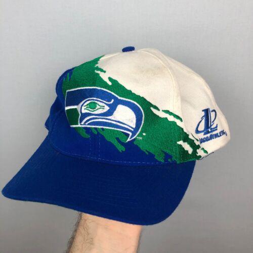 Vtg Seattle Seahawks Paintbrush Logo Athletic Snap
