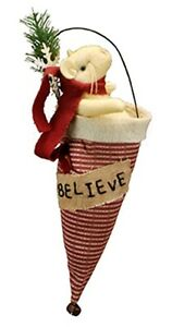Believe christmas striped santa hat mouse ornament fabric best seller