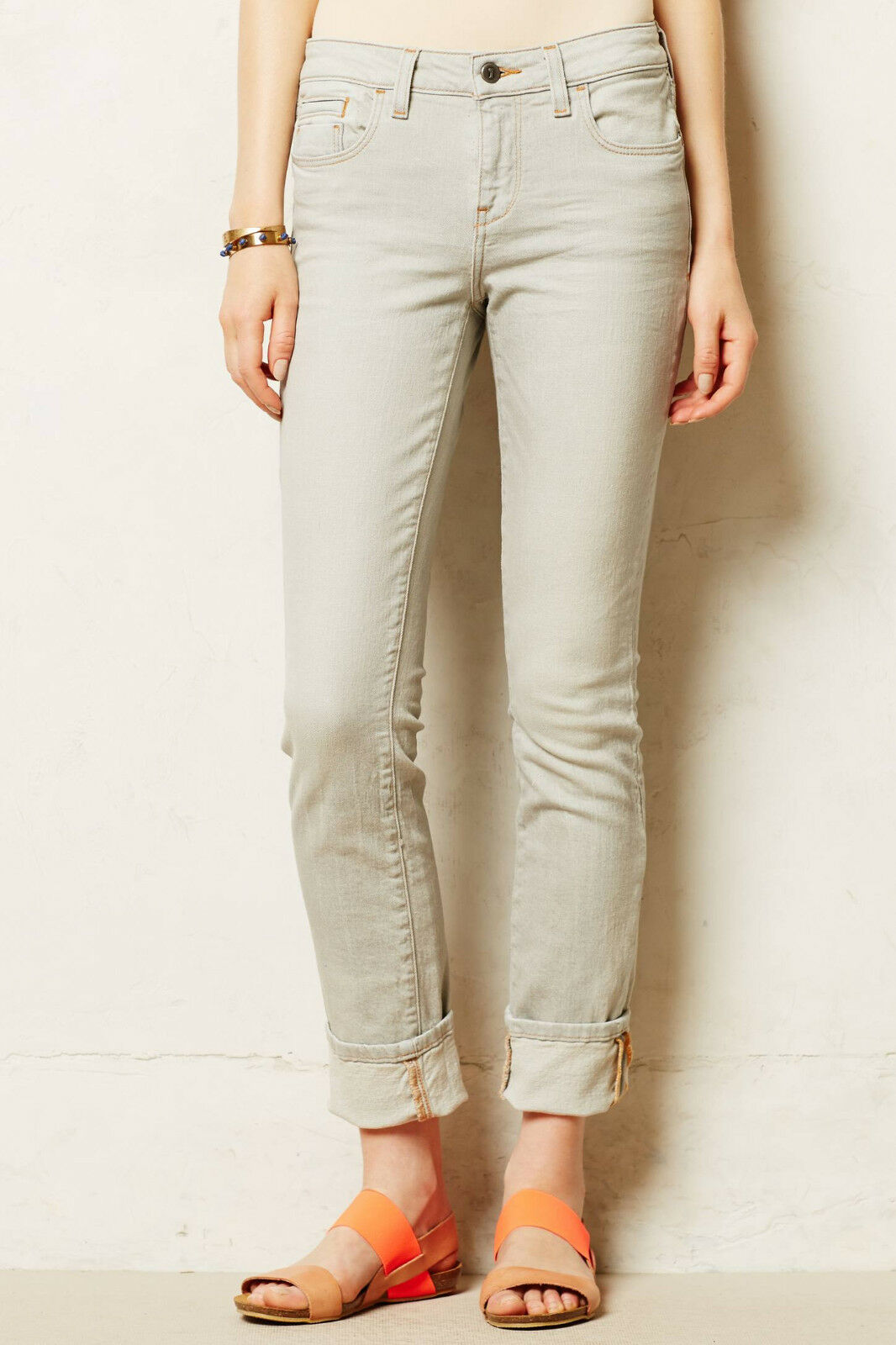 Pilcro Stet Cuffed Jeans Pants Sizes 31, 32 Light Grey color NW ANTHROPOLOGIE Ta